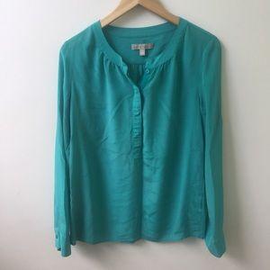 BAnana Republic turquoise Silk Long Sleeve Blouse